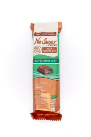 Well Naturally no sugar added peppermint chip milk chocolate 45g