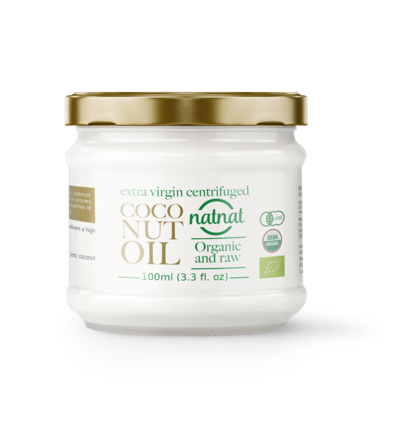 natnat, organic extra virgin centrifuged coconut oil 100ml